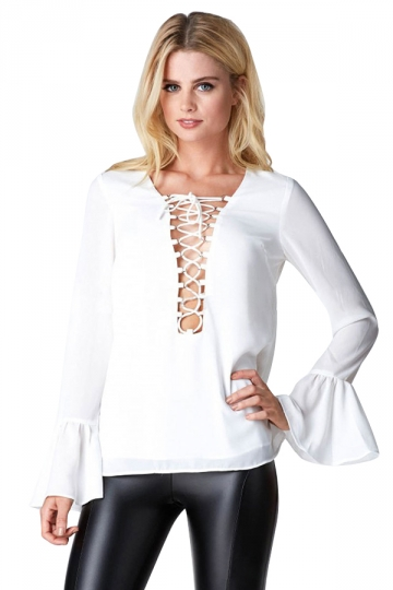 Womens Sexy Crisscross String Flare Long Sleeve Blouse White