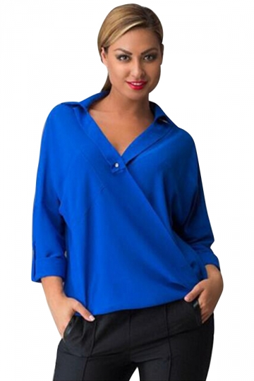 Womens V-neck Plain Turndown Collar Long Sleeve Blouse Blue