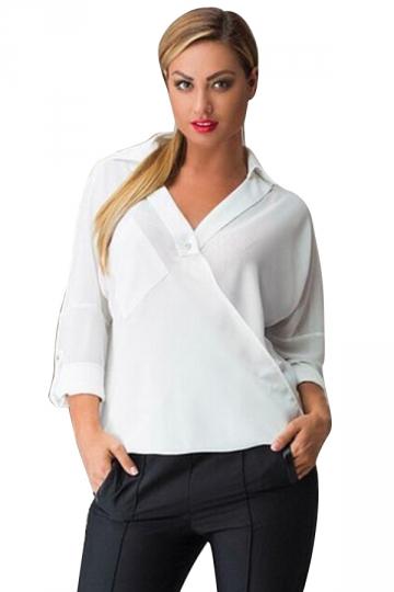 Womens V-neck Plain Turndown Collar Long Sleeve Blouse White