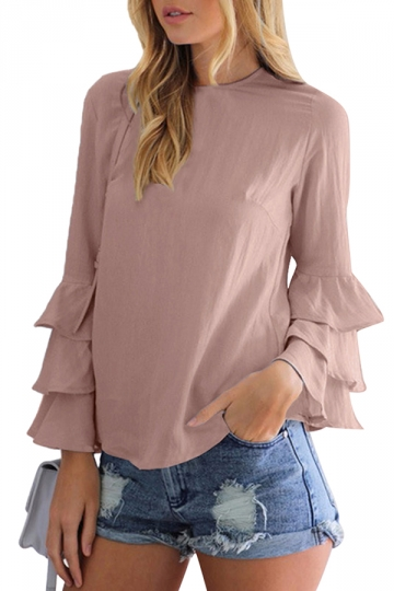 Womens Crew Neck Plain Ruffled Long Sleeve Blouse Coffee