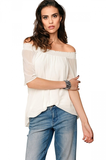 Womens Sexy Boat Neckline Short Sleeve Chiffon Blouse White