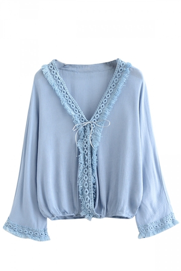 Womens Casual V-neck Fringe Batwing Sleeve Blouse Light Blue