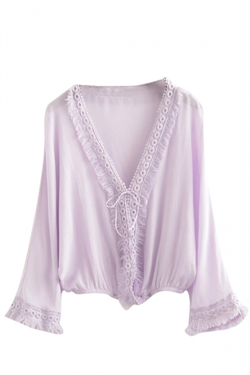 Womens Casual V-neck Fringe Batwing Sleeve Blouse Light Purple