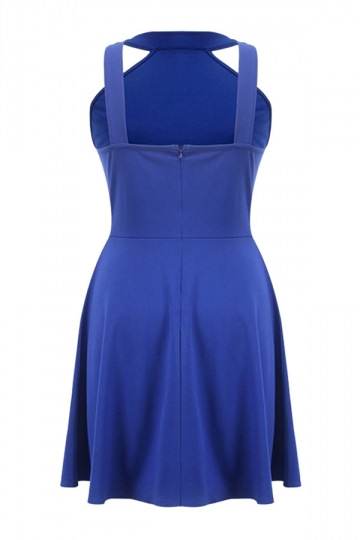 Womens Off Shoulder Plain Sleeveless Skater Dress Blue