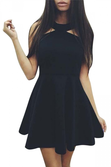 Womens Off Shoulder Plain Sleeveless Skater Dress Black