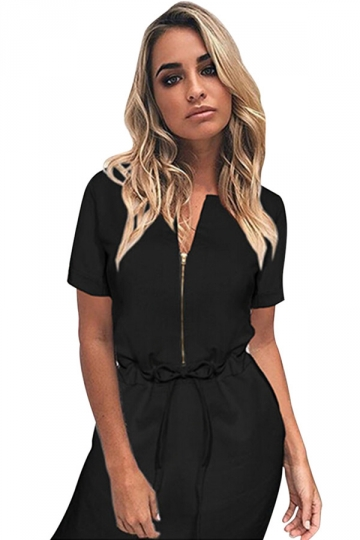Womens Zipper Front Drawstring Waist Short Sleeve Shirt Dress Black