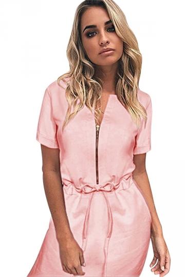 Womens Zipper Front Drawstring Waist Short Sleeve Shirt Dress Pink