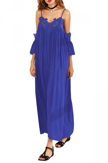 Womens Cold Shoulder Lace Embroidery Pleated Plain Maxi Dress Blue