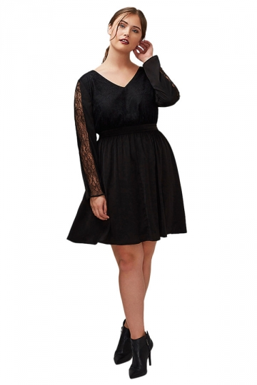 Womens V Neck Lace Patchwork Long Sleeve Plus Size Dress Black
