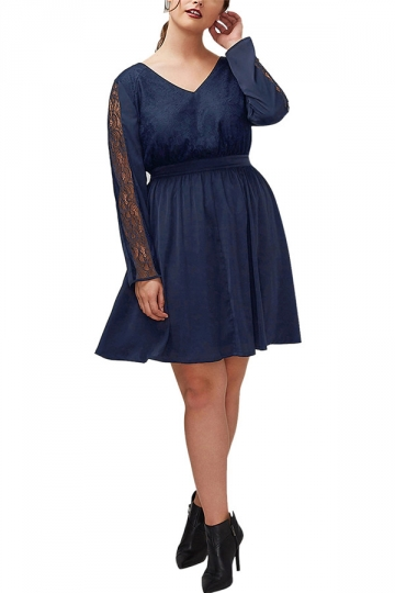 Womens V Neck Lace Patchwork Long Sleeve Plus Size Dress Navy Blue