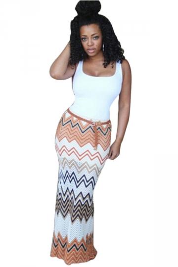 Womens Fashion Camisole Colorful Wave Stripes Maxi Dress Orange