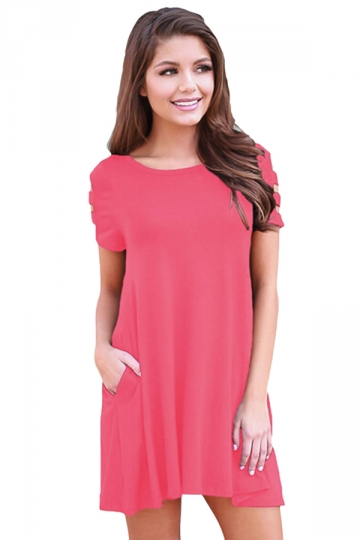 Womens Banded Short Sleeve Relaxing Casual Smock Dress Pink