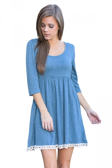 Womens Crew Neck Half Sleeve Pocket Lacework Skater Dress Blue