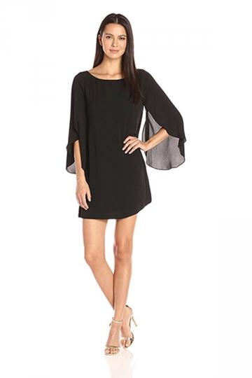 Womens Fashion Open Back Butterfly Chiffon Dress Black