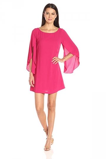 Womens Fashion Open Back Butterfly Chiffon Dress Pink