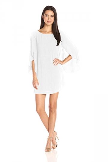 Womens Fashion Open Back Butterfly Chiffon Dress White