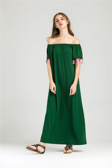 Womens Boat Neckline Fringe Patchwork Maxi Dress Green