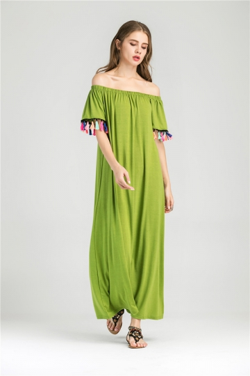 Womens Boat Neckline Fringe Patchwork Maxi Dress Light Green