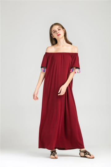 Womens Boat Neckline Fringe Patchwork Maxi Dress Ruby