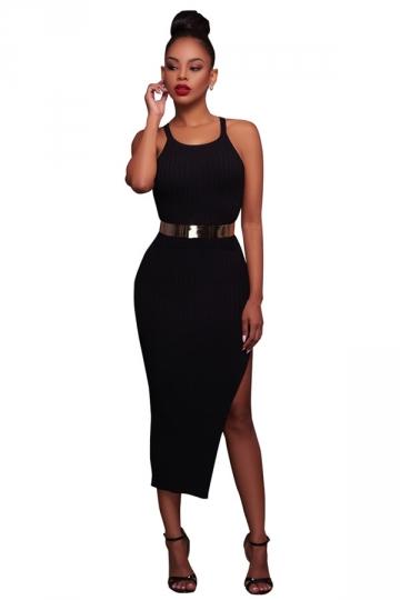 Womens Sleeveless Side Slit Plain Crochet Maxi Dress Black