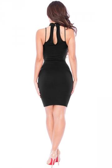 Womens Lace-up V Neck Choker Sleeveless Plain Clubwear Dress Black