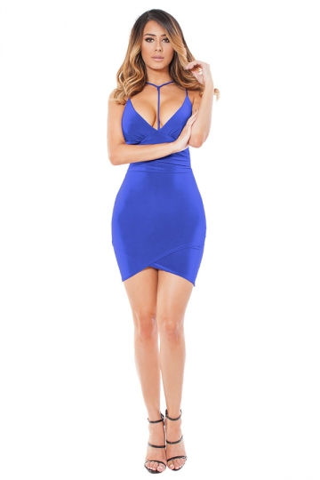 Womens V Neck Spaghetti Straps Plain Clubwear Dress Blue