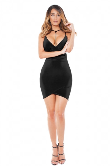 Womens V Neck Spaghetti Straps Plain Clubwear Dress Black