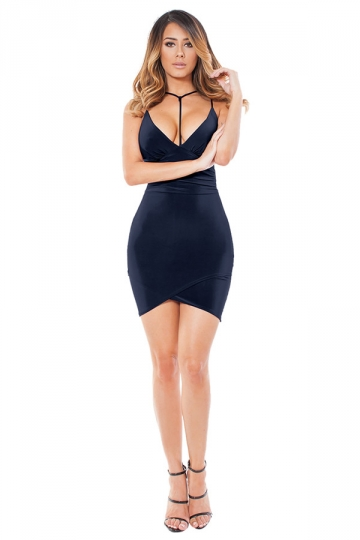 Womens V Neck Spaghetti Straps Plain Clubwear Dress Navy Blue