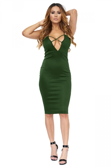 Womens Cross V Neck Spaghetti Straps Plain Clubwear Dress Army Green