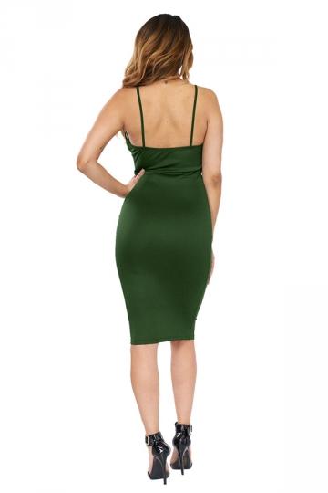 Womens Cross V Neck Spaghetti Straps Plain Clubwear Dress Army Green
