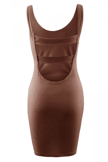 Womens Sexy Backless Slimming Clubwear Dress Coffee