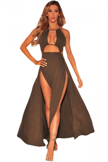 Womens Sexy High Slits Backless Halter Cutout Clubwear Dress Brown