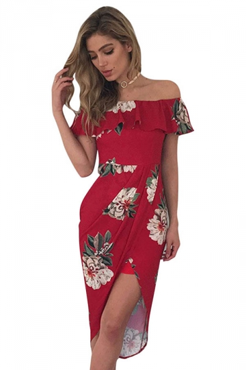 Womens Sexy Ruffle Boat Neckline Floral Slits Clubwear Dress Red