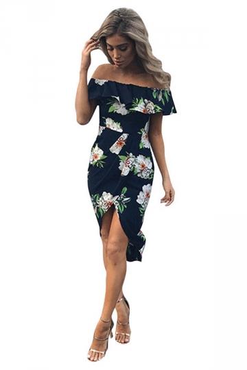 Womens Sexy Ruffle Boat Neckline Floral Slits Clubwear Dress Navy Blue