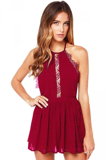 Ladies Sexy Halter Backless Lace Patchwork Clubwear Dress Ruby