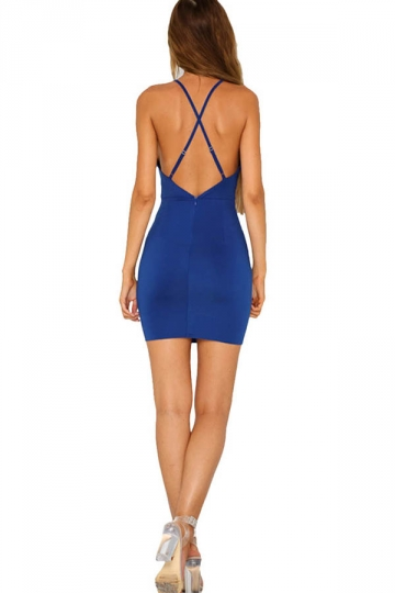 Womens Sexy Sheer Halter Backless Clubwear Dress Blue