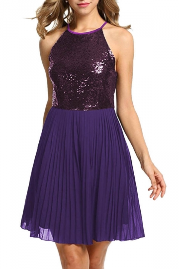 Ladies Halter Open Back Sequins Chiffon Pleated Evening Dress Purple