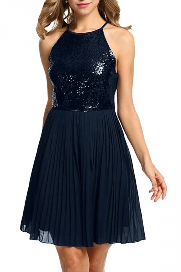 Ladies Halter Open Back Sequin Chiffon Pleated Evening Dress Navy Blue