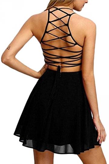 Womens Sexy Halter Open Back Cross String Clubwear Dress Black