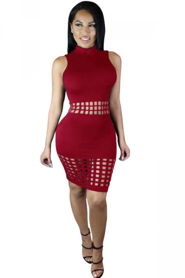 Womens Sexy Hollow Out Sleeveless Slimming Clubwear Dress Ruby