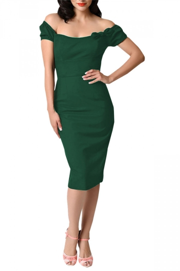 Womens Off Shoulder Bow Decor Short Sleeve Plain Midi Dress Green
