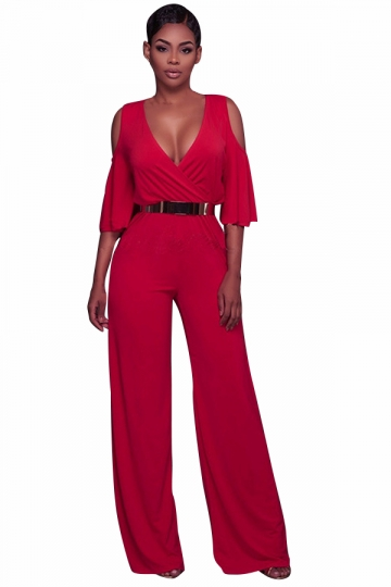 Womens v neck cold shoulder flare sleeve belt palazzo - Jumpsuit hochzeit ...