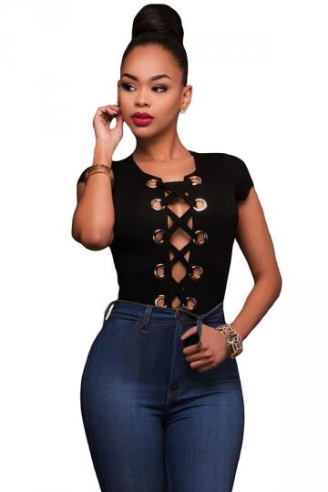 Womens Sexy Lace-up Front Cut Out Bodysuit Black