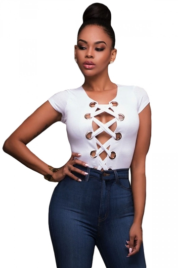 Womens Sexy Lace-up Front Cut Out Bodysuit White