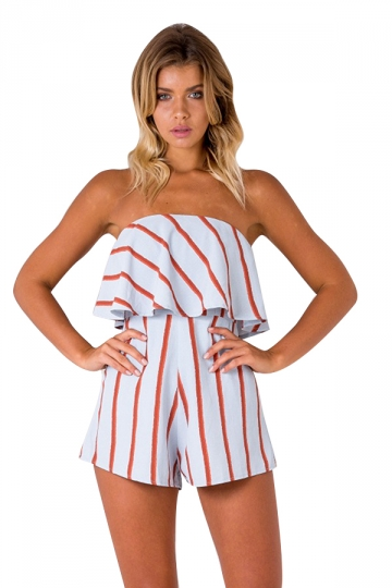 Womens Sexy Strapless Ruffle Strips Printed Romper White