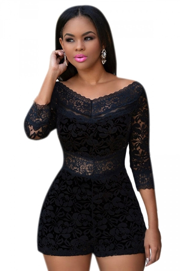 Womens Sexy Lace Overlay See Through V-neck Romper Black