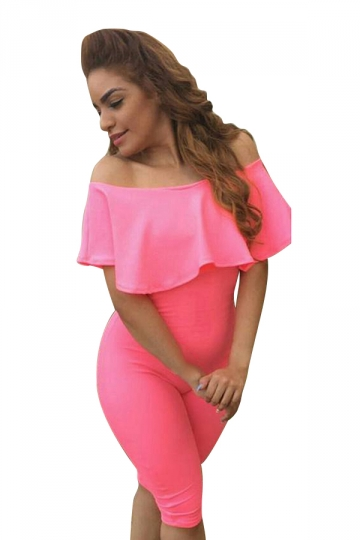 Womens Ruffle Boat Neckline Plain High Waist Fitting Jumpsuit Pink