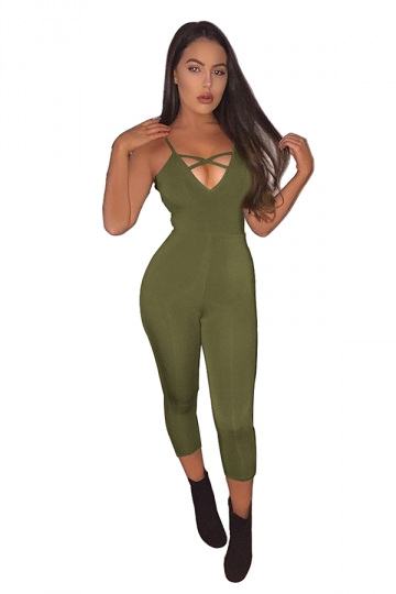 Womens Sexy Straps Deep V-neck Cross Strings Jumpsuit Green