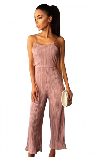Womens Sexy Straps Open Back High Waist Wide Leg Jumpsuit Pink