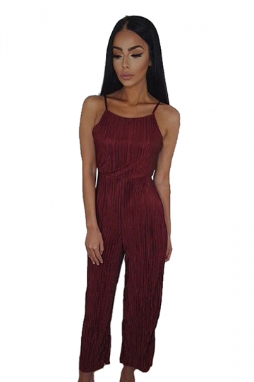 Womens Sexy Straps Open Back High Waist Wide Leg Jumpsuit Ruby